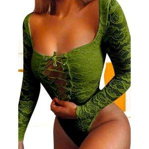 Women's Green Lace Tie Up Floral Body Suit Sz S